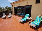 Indoor pool has large sliding doors onto sun terrace. Your choice sun or shade