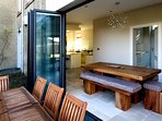 Bi fold doors from kitchen to patio area