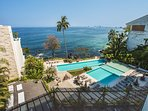 Three pools and just steps to two beaches. Whale watch form balcony. See city lights .at night.