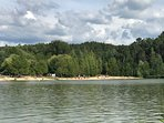 This lake is a short bike ride away and has nice swimming and a restaurant