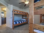 This room offers 2 twin-over-twin bunk beds.