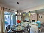 Gather around the contemporary bistro table when you're ready for dinner.