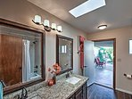 Access this full bathroom directly from the  furnished patio!