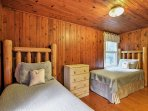 Put the kids to bed in the fourth bedroom with 2 twin-sized bed.
