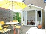 Very sunny rear garden and summer house