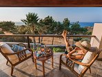Balcony with unrestricted sea view - Villa Russelia in Rhodes