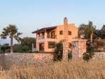 Front view of the villa in the sunset  - Villa Russelia in Rhodes