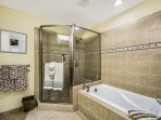 Master bathroom - Walk in shower and large soak tub.