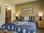 Elegant new bedding and attached Master bathroom