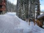 True ski in and ski out pic shows the back entrance to our chalet