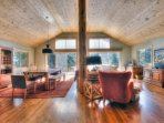 Large windows bring in beams of light