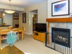 Gas fireplace and Smart TV in the family room