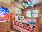 The cabin features 4 bedrooms for you to choose from.