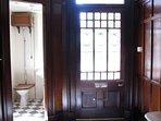 Front door and cloakroom toilet