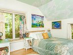 Your bedroom, a vision of comfort and beauty adorned with originals and murals by Rachel Clearfield.