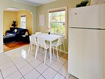 Kitchen - All the essentials can be found in the kitchen, including dishes, cookware, flatware.