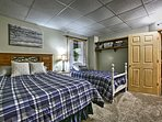 Choose a spot on the queen or twin bed in the front bedroom.