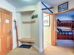 This nook is the perfect place to hang your jackets and store your mountain gear.