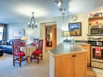 The kitchen opens seamlessly to the dining and living area, making it easy to entertain guests.