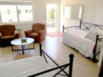 Living room is furnished with 2 daybeds to accommodate the additional guests; has cable TV, chairs