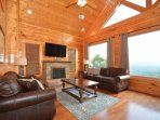 Family movie or game night while enjoying the fireplace on those chilly nights and mountain views.