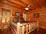 Main level Master King Bedroom with Private Bath with tub/shower combo.
