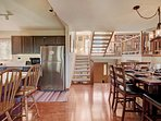 Open kitchen and dining area makes meals easy