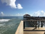 The end-of-pier Tiki Bar and Restaurant is just a short walk down the beach