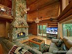 Living Room with Fireplace at Waters Edge Lodge