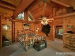 Master Bedroom with Log Bed at Waters Edge Lodge