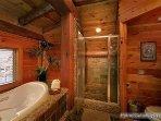Master Bath Jacuzzi and Custom Shower at Waters Edge Lodge
