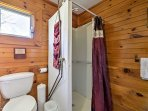 A walk-in shower makes it easy to freshen up after a day on the beach.