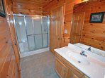 Each on suite bathroom has a roomy shower.
