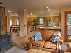 The kitchen opens seamlessly to the living room, making it easy to entertain guests.