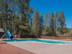 Take a dip in the nearby community pool while the kids play on the water slide.