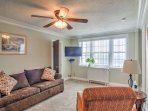 The one bedroom apartment features a comfortable, open-concept living space.