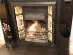 Victorian open fire in Lounge area
