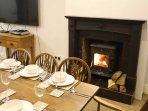 Dining table with log burner