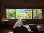 Enjoy looking out the large picture window in the living room overlooking Bajo Boquete and garden.