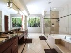 Bathroom 1 of 4: Fireplace, double sinks, jacuzzi tub, large shower.