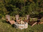 Your fire pit with free wood, perfect under the stars.