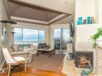 Living Room with Fireplace-Ocean View