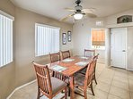 Share home-cooked meals at the 6-person dining table.