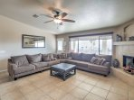 Tile floors and comfortable leather furnishings welcome you inside.
