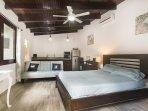 Guest casita, queen bed and futon sofa