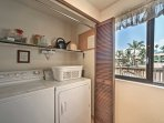 The in-unit laundry machines are located in the kitchen and add convenience during your stay.