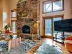 Large moss rock fireplace