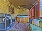 Back Deck off the Kitchen with Patio Seating, BBQ and a 6-Person Hot Tub