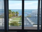 Insect screen on balcony door and stunning view of the lagoon and Island from the lounge