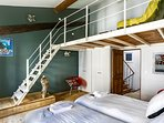 2 single beds and mezzanine room